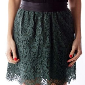 J. Crew Dark Green Lace Mini-Skirt